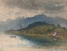 GENERAL CHARLES D'AGUILAR Painting LAKE LUCERNE SWITZERLAND c1840 MOUNTAINS
