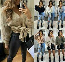 Women Chunky Knitted Tie Up Wrap Over Plunge Ladies Cardigan Jumper Pullover Top