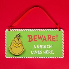 Beware A Grinch Lives Here Hanging Plaque