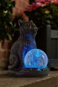 Mystic Mog Solar Garden Cat Ornament - New