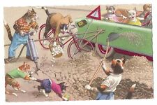 Mainzer postcard Dressed Cats Road Construction  # 4898 scalloped edges