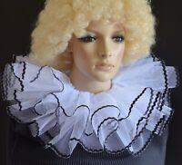 PIERROT STYLE WHITE & BLACK layered net BURLESQUE CLOWN COLLAR neck ruff/ruffle