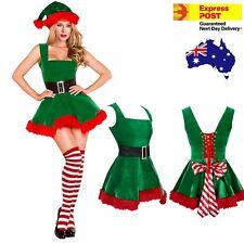 Ladies Elf Costume Christmas Tree Dress Santa Hat Stockings Sydney Stock