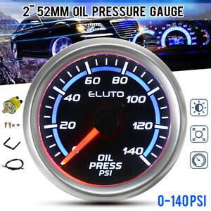"""2"""" 52mm 0-140PSI Oil Pressure Gauge Blue LED Black Face Car Meter with Sensor"""