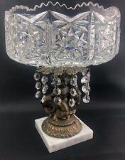 Vintage Italian Crystal Compote Pedestal Dish Cherub Fish Marble Base Prisms