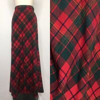Vintage 70s Red Plaid Knit A-Line Maxi Skirt Size Extra Small/Small