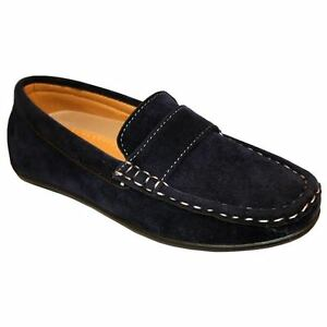 Infant Toddler Youth Boys suede Loafers In Navy Blue