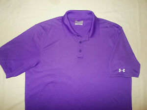 UNDER ARMOUR HEAT GEAR SHORT SLEEVE PURPLE POLO SHIRT MENS LARGE EXCELLENT COND.