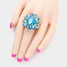 LUSH GLAM Celeb Silver Aqua Crystal Big Stretch Cocktail Ring By Rocks Boutique
