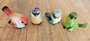 Set of 4 Birds ornaments bright colourful UK SELLER