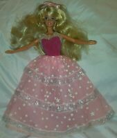 Vintage 1966 Barbie With Vintage pink sparkle Dress Earrings And shoes