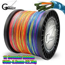 Multicolor Braided fishing line 1000m 12Strands Multifilament PE braid Line 50lb