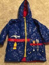 boys DRIPLETS RAIN COAT JACKET tools LINED hood ZIPPER blue WATERPROOF size 4