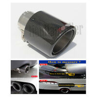 Stainless Steel+Carbon Fiber 76mm 114mm Glossy Exhaust Tips Muffler Pipe Curled