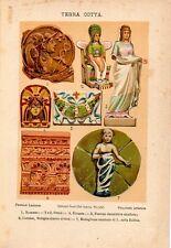 Stampa antica TERRACOTTA decorazioni di diverse epoche e paesi 1910 Old print