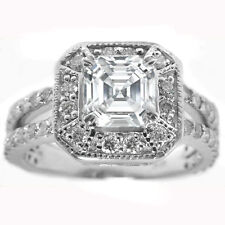 1.77 Carat Asscher Cut Halo Split Band Diamond Engagement Ring  GIA Certified
