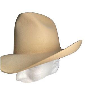"""Vintage Stetson 5-X beaver  """"GUS"""" Style Tan Size 7 Cowboy Hat Western"""