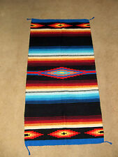 "Saltillo Mexican Throw Rug Tapestry Southwestern 32x64"" Woven Acrylic BLACK"