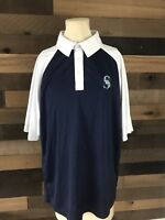 Seattle Mariners  Polo Shirt Blue Mens Size Large majestic Baseball Mlb