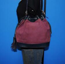 MARC JACOBS Med Corduroy Suede Leather Purple Blue Drawstring Shoulder Purse Bag