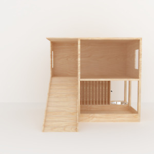Rabbit House With Feeder and Drinking Station Wooden House Shelter Hideout