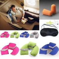 Inflatable U Shape Pillow Neck Head Rest Air Soft Cushion for Flight Travel shan