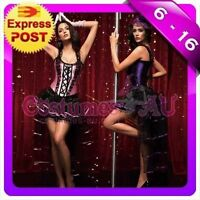 Ladies Burlesque Corset Purple Pink Lace up Bustier Party Dress Costume Outfits