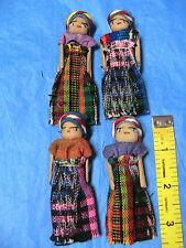 "LOT OF 4 GUATEMALA 3-1/4"" tall HANDMADE CLOTH DOLLS for crafts~scrapbk~dolls++"