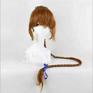 Brown girl long pigtail hair Blue hair band cosplay wig Party design wigs