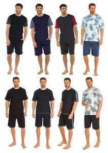 Mens Pyjama Set - Short Sleeve T-Shirt Top & Shorts - Summer Loungewear