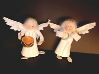 Enesco Old Lady Angels Cloth Christmas Ornaments Music Instrument Rare