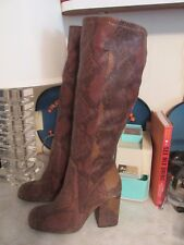 Free People 'High Ground' Snake Embossed Tall Brown Boot Size 37, 7 NWOB