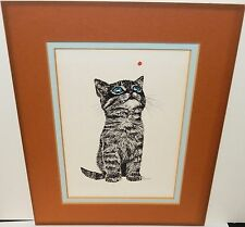 RABINDRA BLUE EYE'S CAT VINTAGE LITHOGRAPH