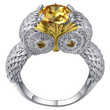 Women's Yellow Topaz 925 Sterling Silver Filled Strigiformes Owl Ring Size 8 R38