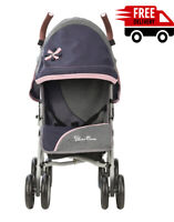 Children's Blue Doll Pram Deluxe Buggy Toy folding Pushchair Dolls Kids Stroller