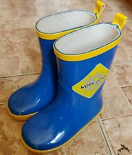 Work Zone Toddler Boys Girls Rain Boots 100% Rubber Blue/Yellow Lined Size 7