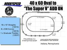 LIONEL FASTRACK 40X60 OVAL TO A SUPER V TRACK LAYOUT SET ADD-ON-PACK layout NEW
