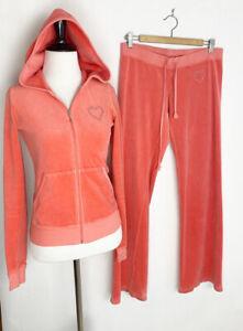 Vintage Juicy Couture Velour Tracksuit Pink Heart Jacket Pants Paris Hilton Y2K