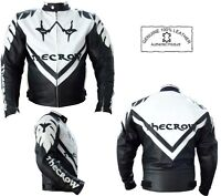 THE CROW STYLE MENS ARMOURED BLACK & WHITE MOTORBIKE MOTORCYCLE LEATHER JACKET
