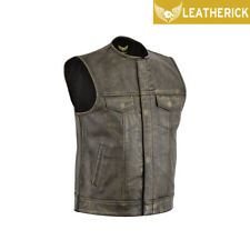 Men Sons of Anarchy Distressed Brown Vintage Biker Leather Waistcoat SOA Vest UK