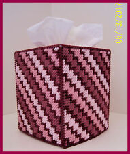 BURGUNDY PINK ROSE WHITE NURSERY HANDMADE PLASTIC CANVAS TISSUE BOX COVER TOPPER