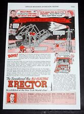 1939 Old Magazine Print Ad, Gilbert Erector, Sensational New All-Electric Set!