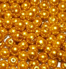 50 x 8mm Yellow Gold Glass Pearl Beads Jewellery Making Crafts