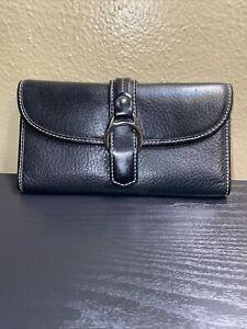 Dooney&Bourke Black Leather Bifold Wallet Silver Tone Hardware