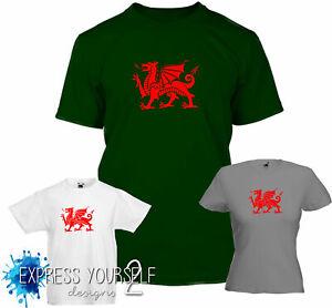 Welsh Dragon T-Shirt  - Cymru, St Davids , Rugby , Euro Wales supporter