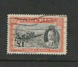 NIGERIA - KG V 1936 - SG 45 - £1 Black & Orange - Boats - CV £200+ ~ Fine Used.