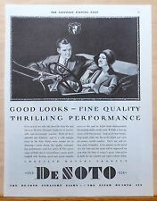 Vintage 1930 DeSoto magazine ad - Happy couple in car - Good Looks Fine Quality