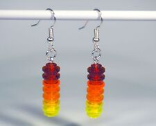 Earrings made with LEGO bricks - shades of red and yellow