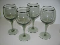 "4 Lenox Crystal GREEN SHADOW 7"" Water Goblets Platinum Trim MINT COND"