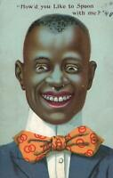 VINTAGE COMIC Politically Incorrect GRINNING NEGRO BLACK FACE POSTCARD - USED